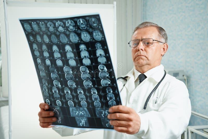 O doutor examina a imagem de MRI fotografia de stock