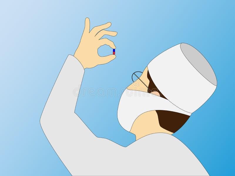 O doutor guarda uma tabuleta em sua mão ilustração do vetor