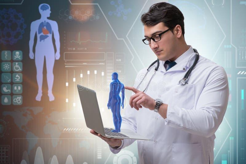 O doutor masculino no conceito médico futurista fotografia de stock