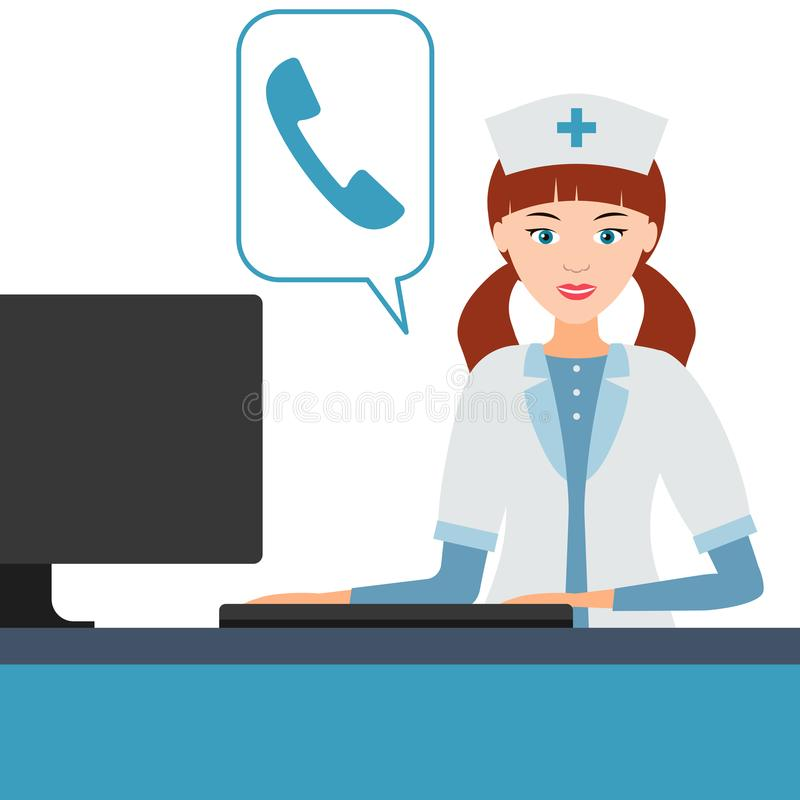 O doutor ou a enfermeira profissional médica fêmea respondem às chamadas ilustração stock