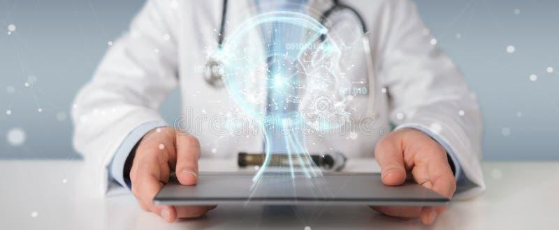 O doutor que usa a relação digital 3D da inteligência artificial rende ilustração stock