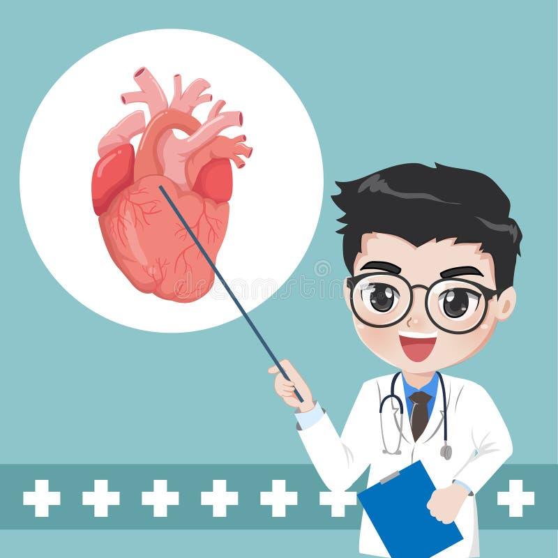 O doutor recomenda e ensina o conhecimento para doenças cardíacas ilustração do vetor
