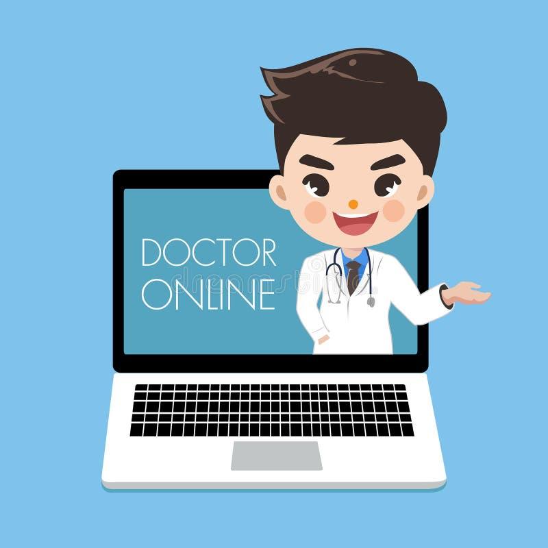 O doutor recomenda os pacientes completamente em linha no portátil do computador ilustração do vetor