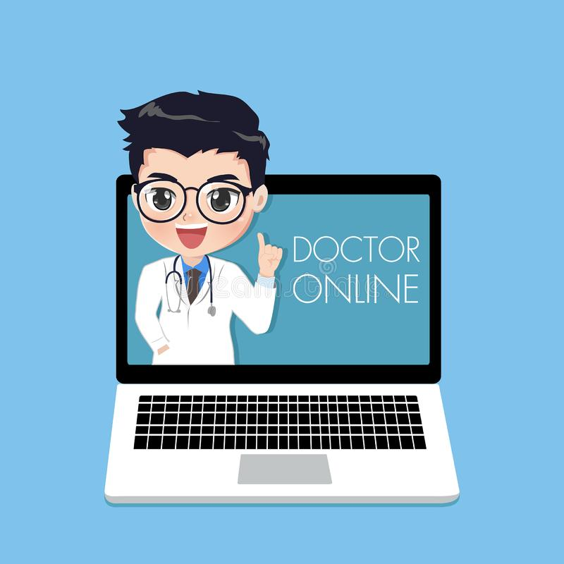 O doutor sugere os pacientes completamente em linha no portátil do computador ilustração royalty free