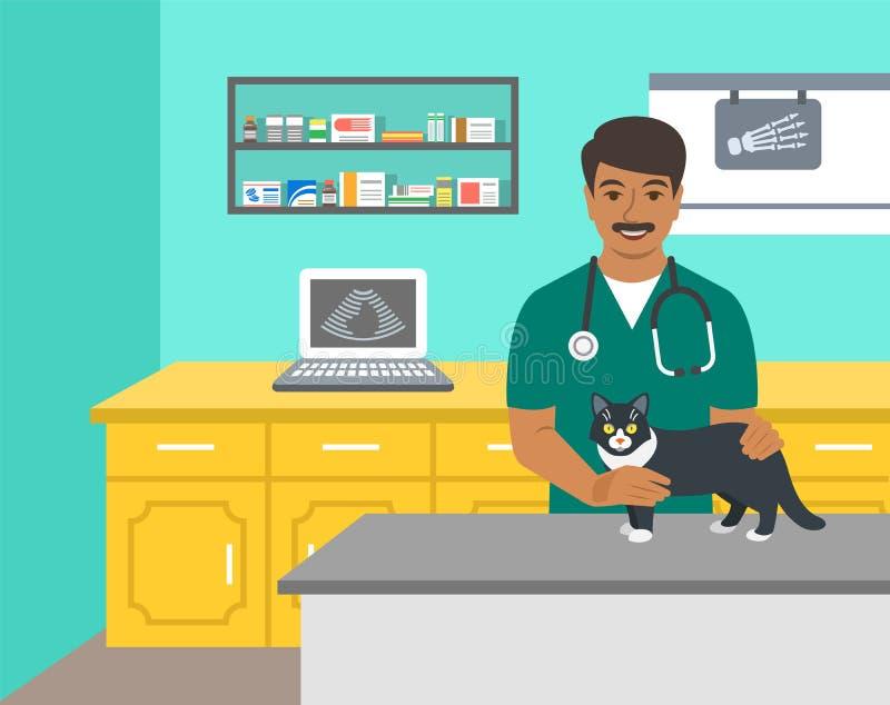 O doutor veterinário guarda o cão na tabela do exame ilustração royalty free