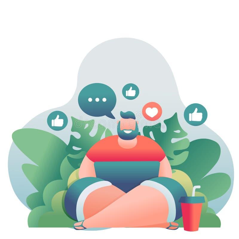 O downshifter moderno novo do indivíduo senta-se na praia com um portátil no fundo das palmeiras ilustração do vetor