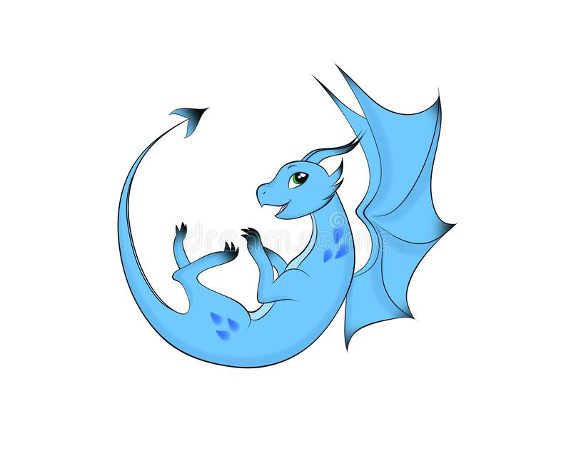 O dragão azul feliz voa no céu ilustração do vetor