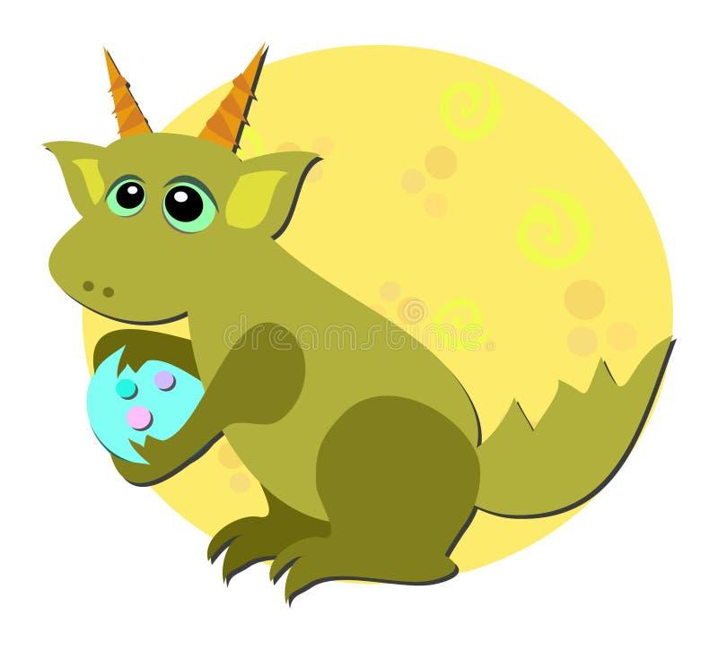 O dragão do bebê ama ovos ilustração stock