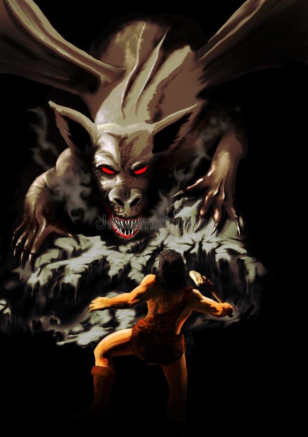 O dragão e o guerreiro ilustração stock