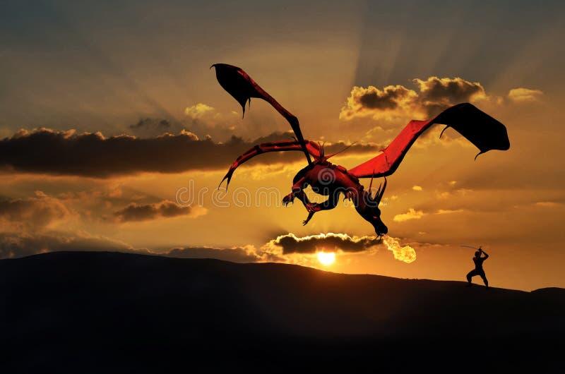 O dragão e o samurai ilustração royalty free