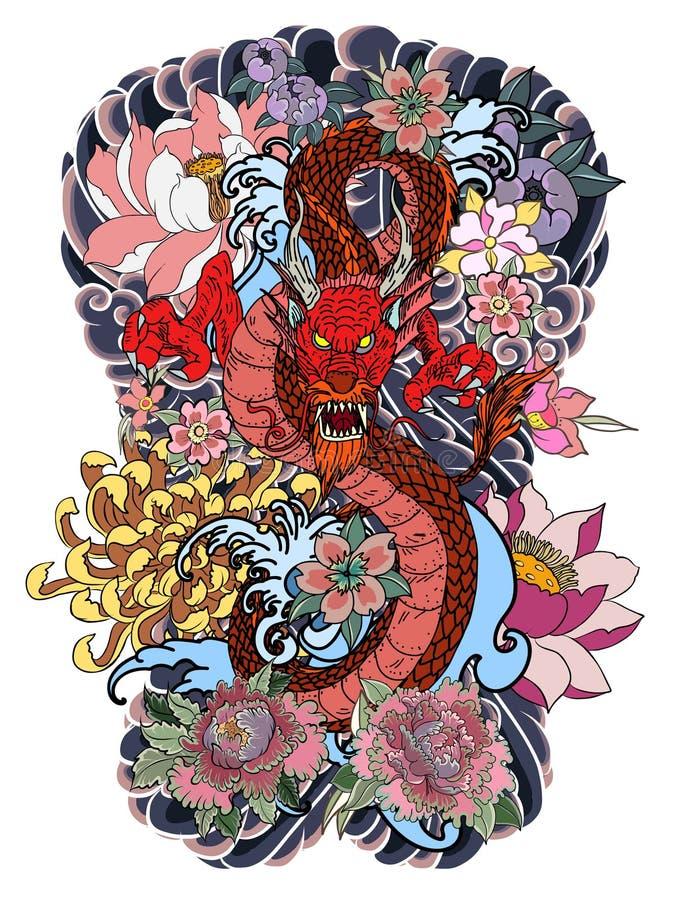O dragão e o Phoenix ateiam fogo ao pássaro com suco do pêssego e flor da peônia, flor de cerejeira, flor do pêssego no fundo da  ilustração royalty free
