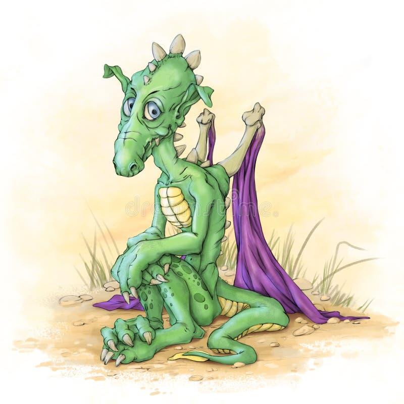 O dragão pequeno verde ilustração stock