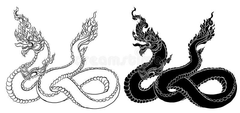O dragão tailandês tirado mão na água, alinha tailandês é projeto do estilo e da tatuagem de Tailândia ilustração do vetor