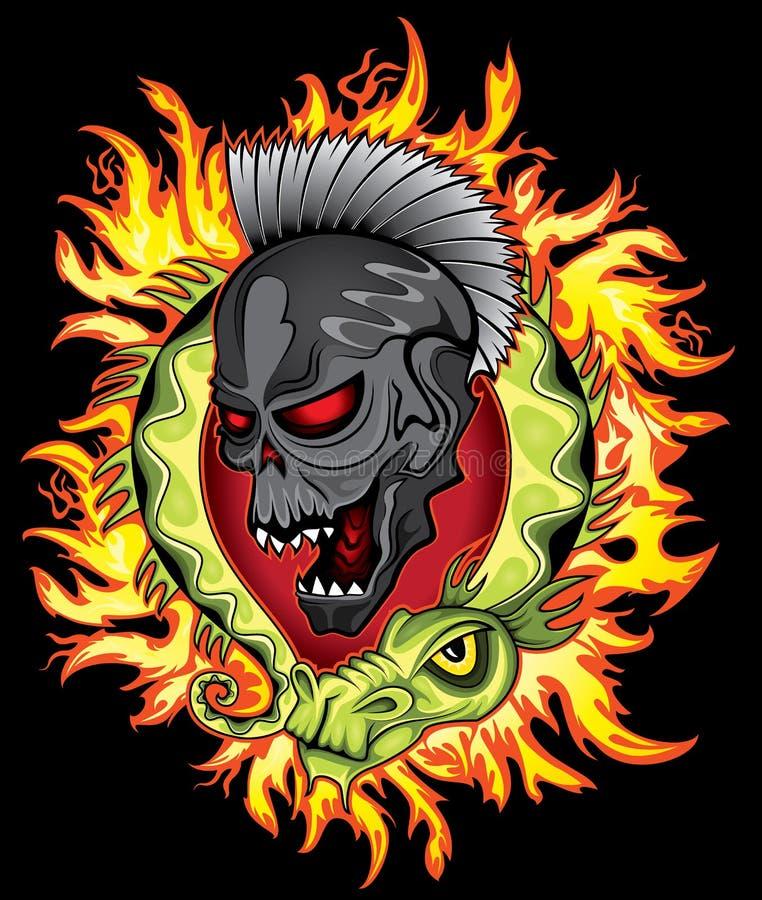 O dragão verde chinês dos desenhos animados punk da cara do crânio no fogo arde o fundo ilustração royalty free