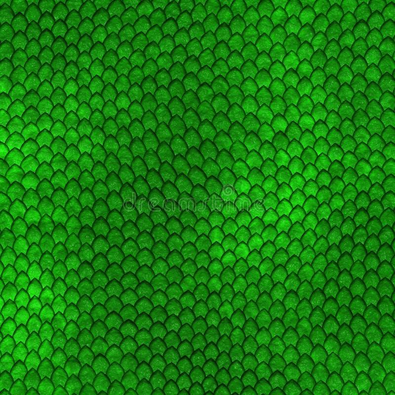 O dragão verde escala o teste padrão ilustração do vetor