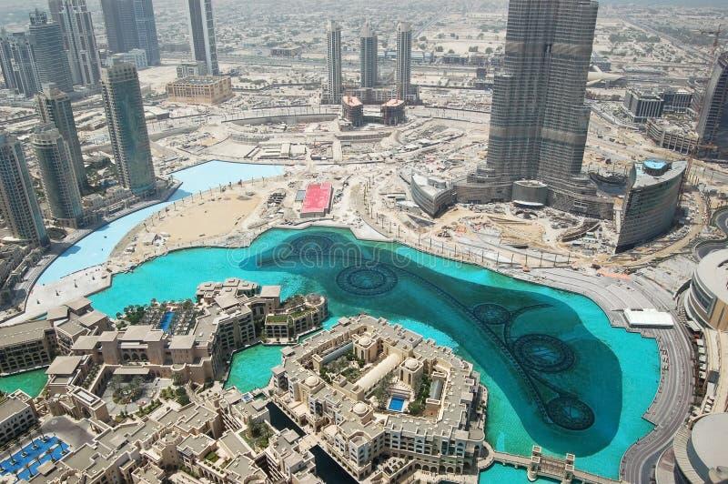 O Dubai da baixa, Burj Dubai, lago sintético, UAE fotos de stock
