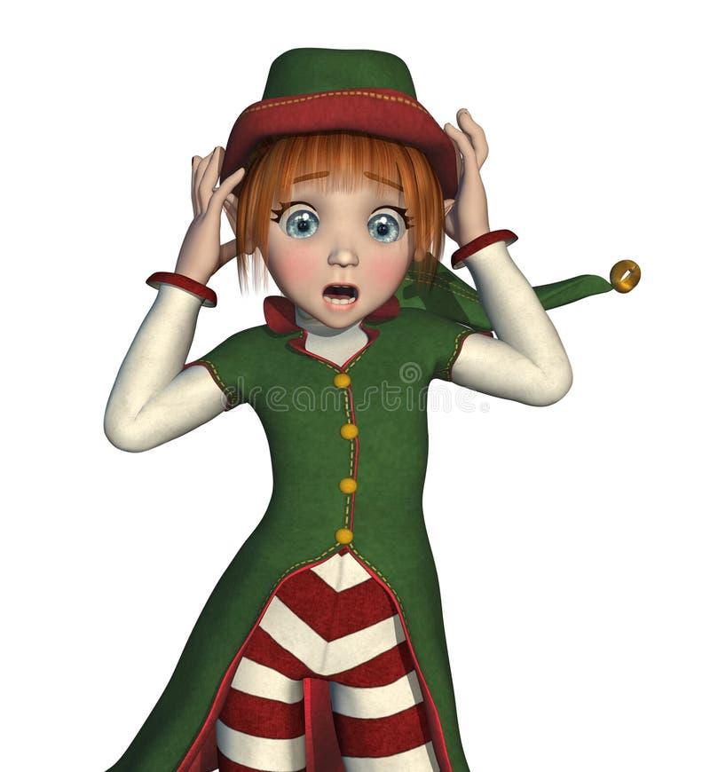 O duende de Santa está começando apavorar-se! ilustração royalty free