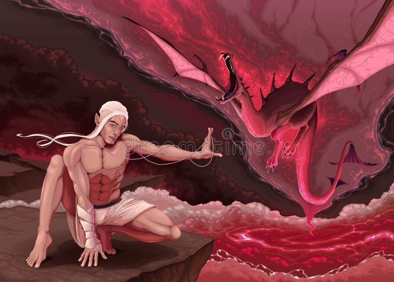 O duende está evocando um dragão ilustração stock