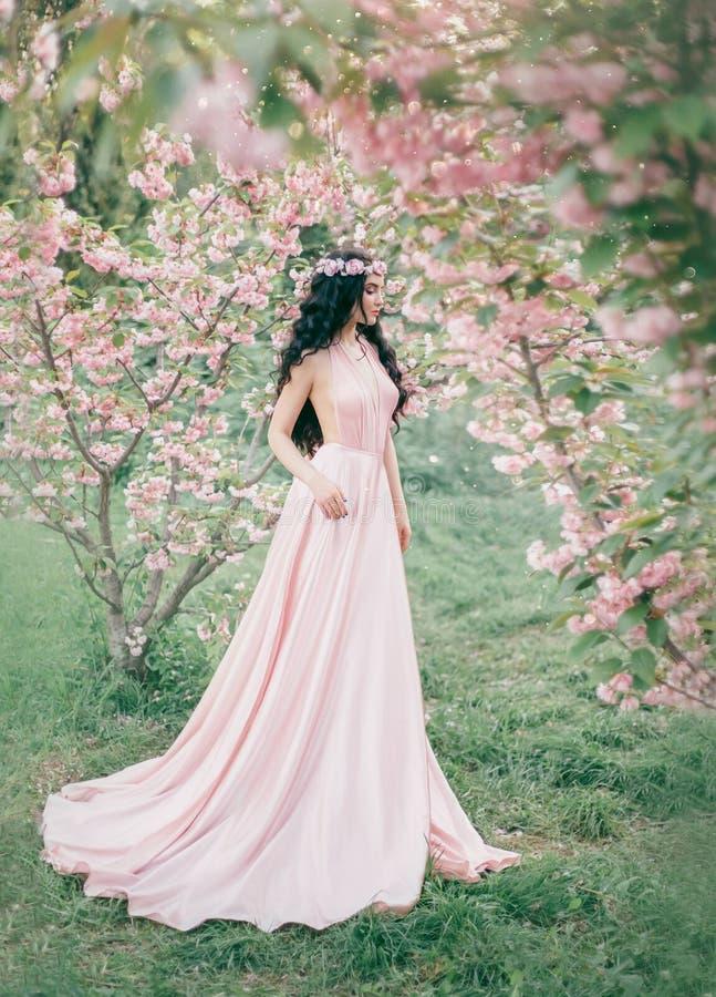 O duende incrível, delicado em um luxuoso, pica delicadamente caminhadas do vestido na primavera, sakura e o pomar de cereja de f imagem de stock royalty free