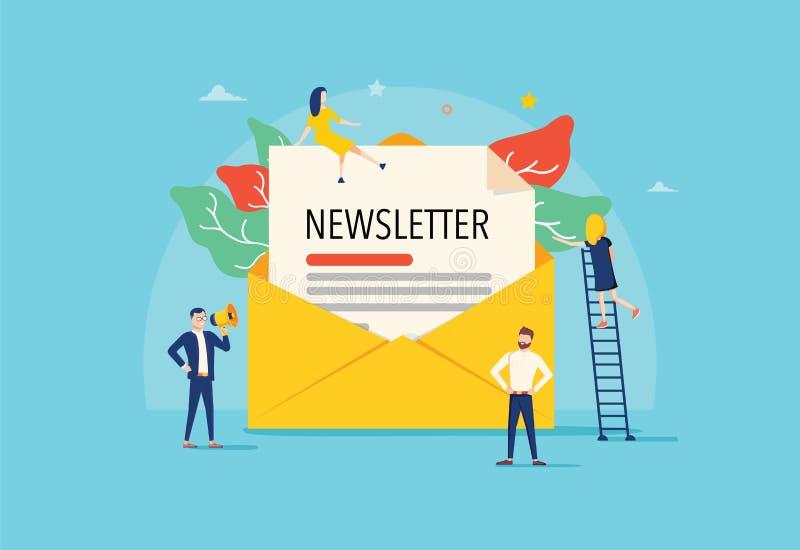 O e-mail subscreve o conceito da ilustração do vetor, sistema de mercado do e-mail, os povos usam o smartphone e subscrevem e bol ilustração stock