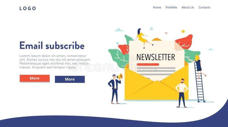 O e-mail subscreve o conceito da ilustração do vetor, sistema de mercado do e-mail, pessoa usa o smartphone e subscreve, boletim  ilustração stock