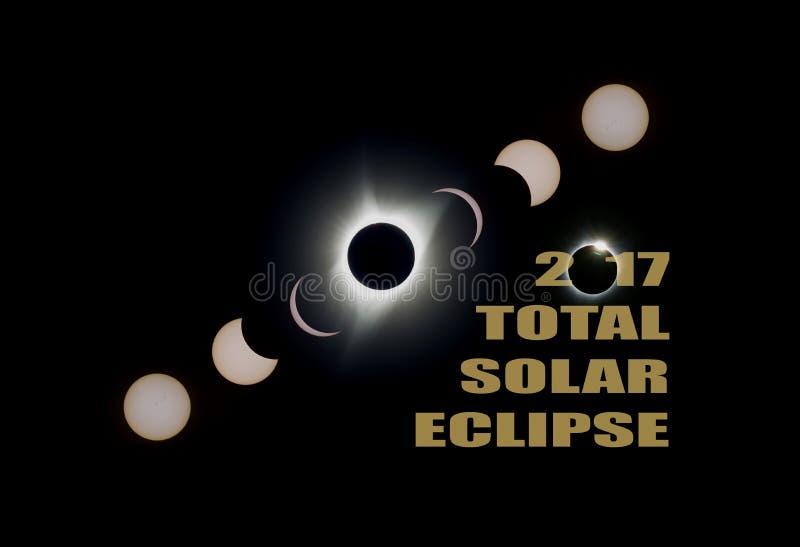 O eclipse 2017 solar total põe em fase EUA América fotografia de stock royalty free
