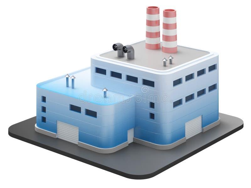 O edifício industrial no branco, 3d rende ilustração stock