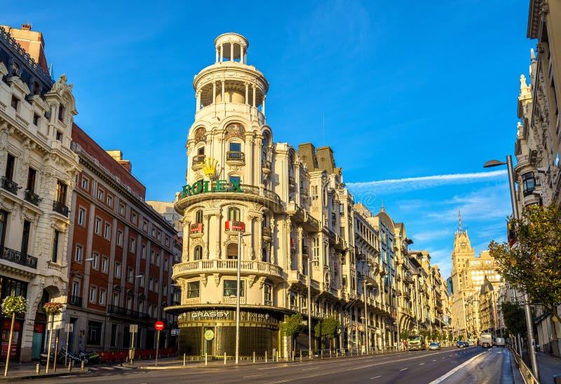 O Edificio gramíneo, um marco do Madri - Espanha fotos de stock
