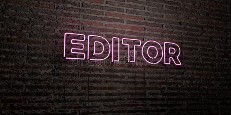 O EDITOR - sinal de néon realístico no fundo da parede de tijolo - 3D rendeu a imagem conservada em estoque livre dos direitos ilustração stock