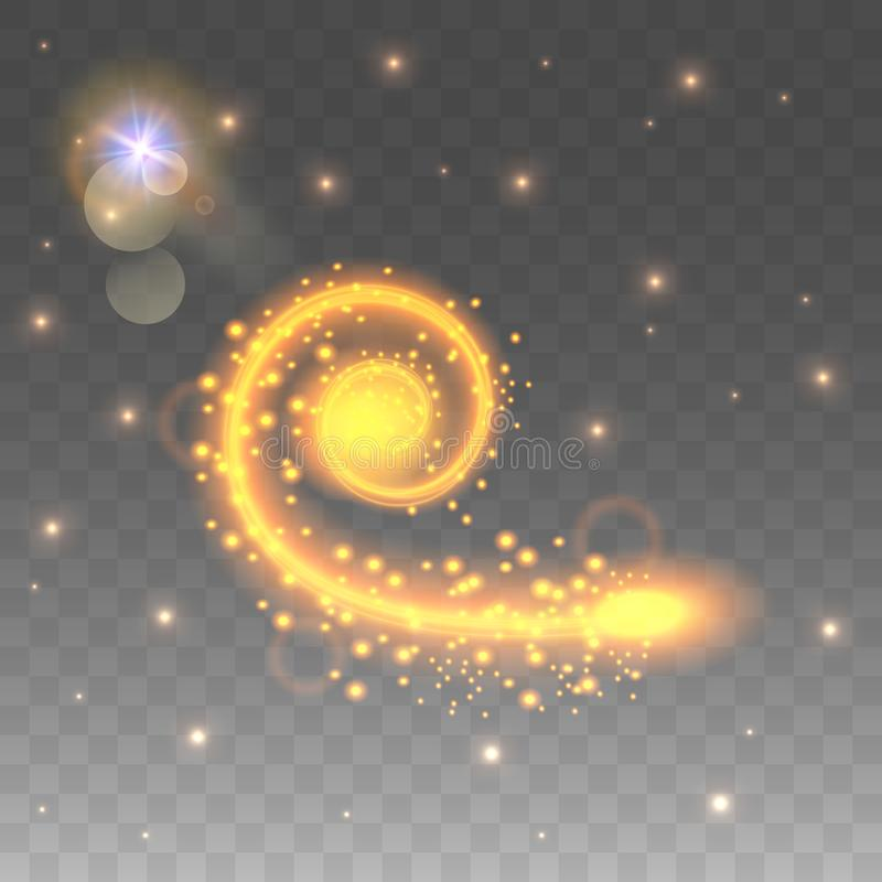 O efeito da luz é uma espiral de roda Efeito da luz da velocidade Fluxo luminoso com luzes de cintilação Ilustração do vetor ilustração do vetor