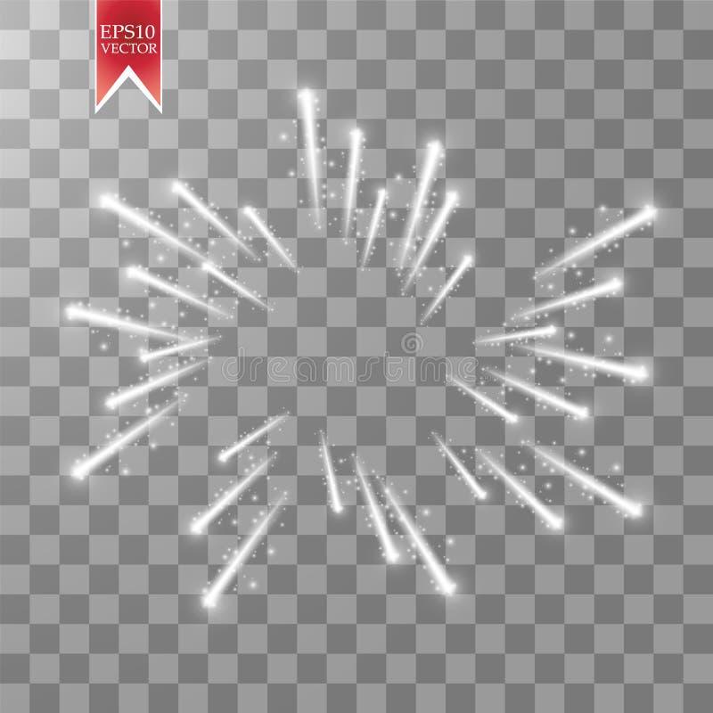 O efeito das luzes do fogo de artifício com incandescência protagoniza no céu isolado no fundo transparente Foguete festivo branc ilustração do vetor