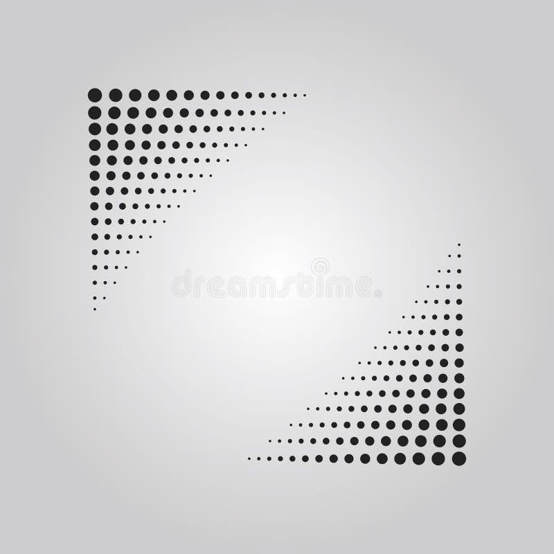 O efeito de intervalo mínimo da técnica dos pontos pretos abstratos na forma de cantos do triângulo projeta o elemento ilustração royalty free