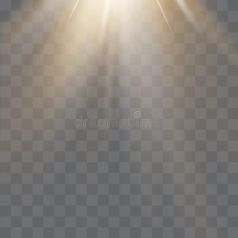 O efeito especial do alargamento claro com raios de luz e de mágica sparkles  ilustração royalty free