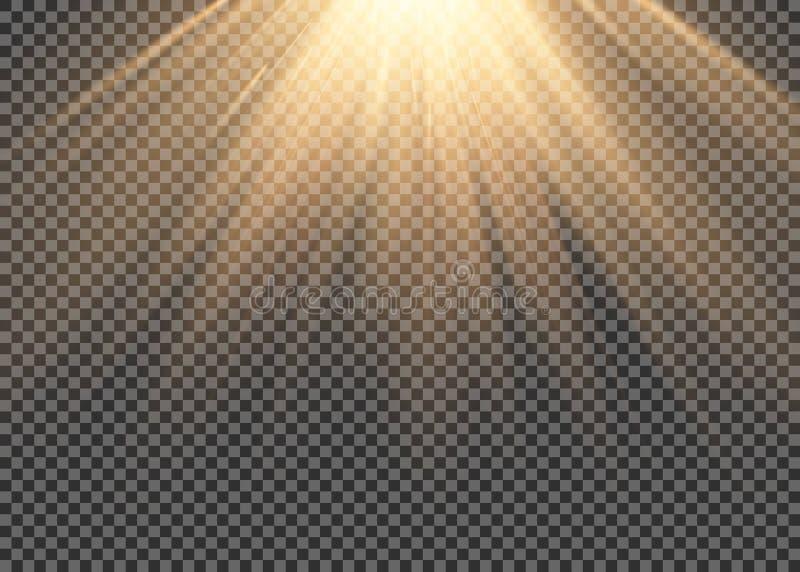 O efeito especial do alargamento claro com raios de luz e de mágica sparkles Grupo transparente do efeito da luz do vetor do fulg ilustração stock