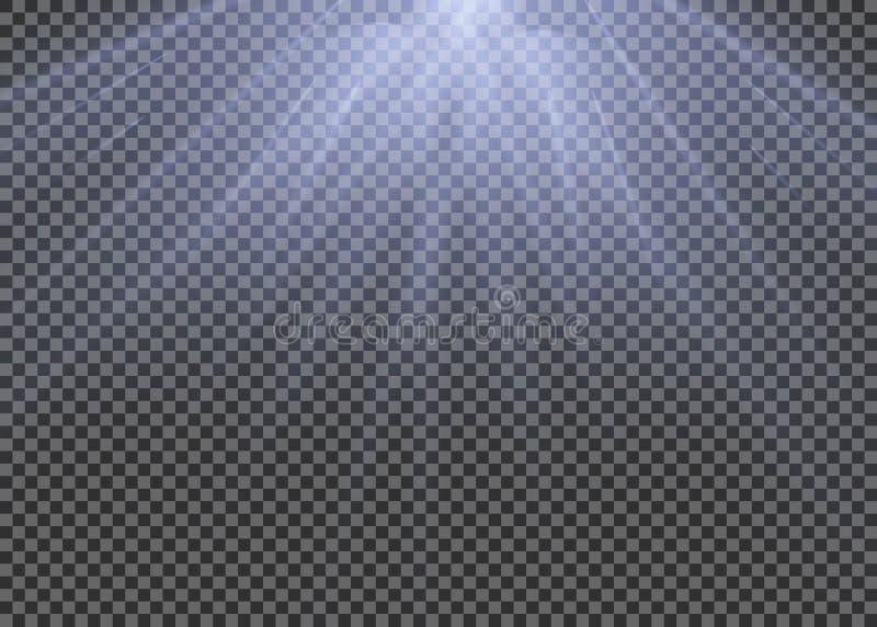 O efeito especial do alargamento claro com raios de luz e de mágica sparkles Grupo transparente do efeito da luz do vetor do fulg ilustração royalty free