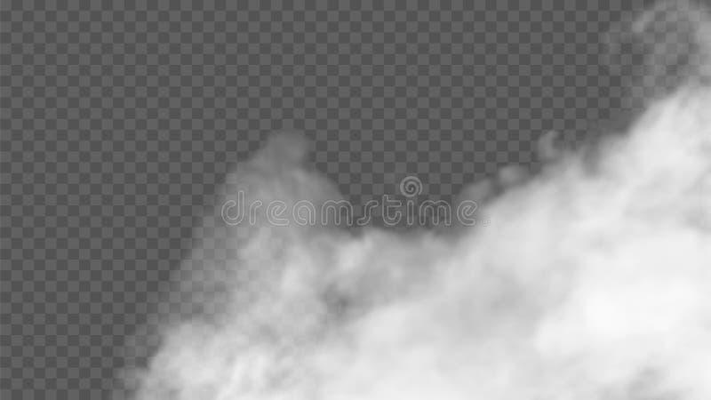 O efeito especial transparente está para fora com névoa ou fumo Nuvem, névoa ou poluição atmosférica branca fotos de stock royalty free