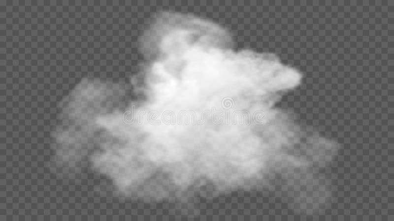 O efeito especial transparente está para fora com névoa ou fumo Nuvem, névoa ou poluição atmosférica branca imagem de stock royalty free