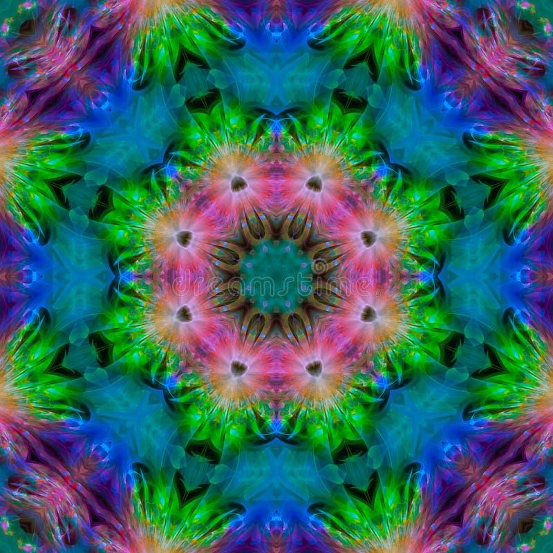 o efeito simétrico da mandala carmesim do caleidoscópio coloriu o fundo do fractal, molde bonito do projeto ilustração stock