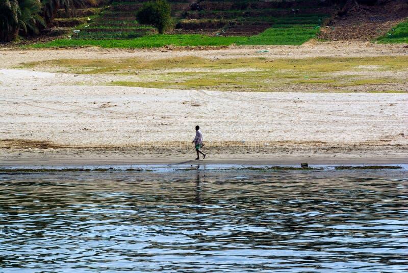 O egípcio vestiu-se no short e na camisa que anda ao longo do riverbank em um rea arenoso do ¡ de à foto de stock royalty free
