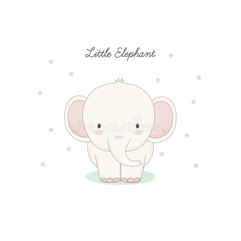 O elefante bonito pequeno ilustração do vetor