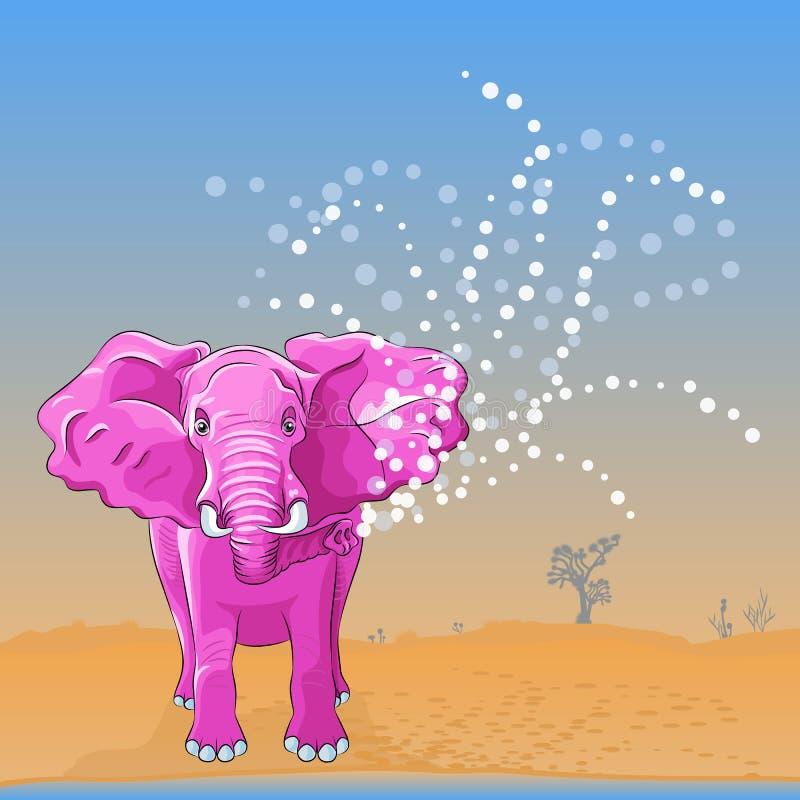 o elefante cor-de-rosa do vetor derrama a água do tronco ilustração do vetor