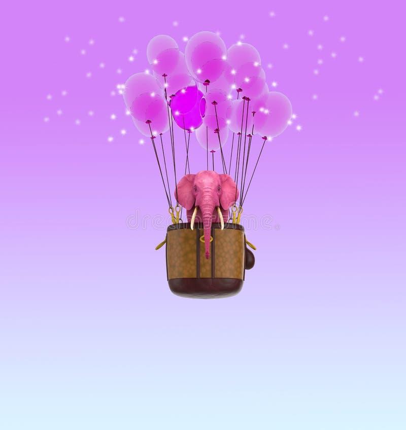 O elefante cor-de-rosa voa no céu em uma cesta com balões cor-de-rosa ilustração 3D ilustração do vetor