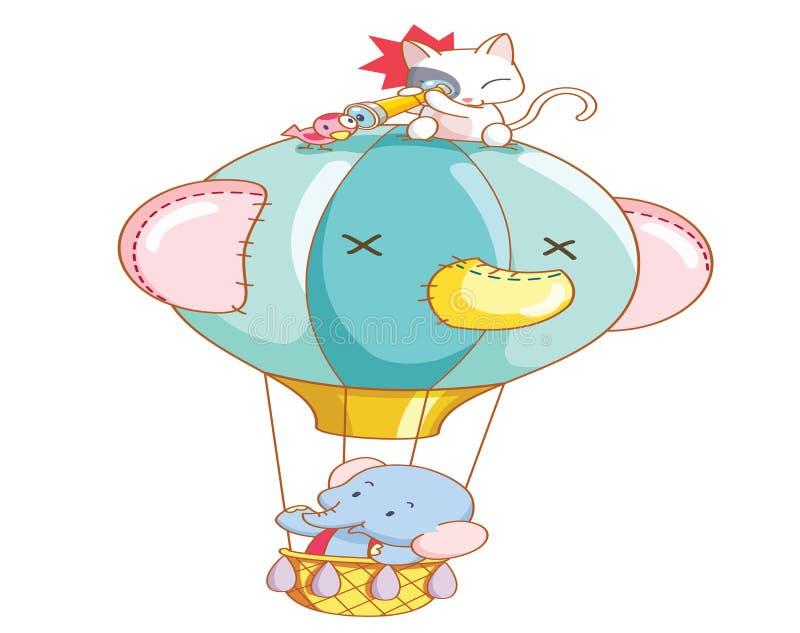 O elefante dos desenhos animados e o gato eram passeio do balão de ar ilustração do vetor