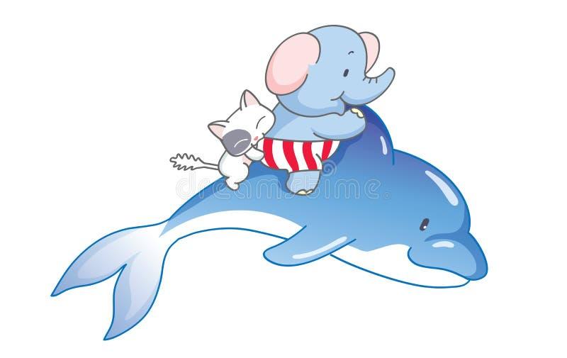 O elefante dos desenhos animados e o gato montavam um golfinho ilustração stock