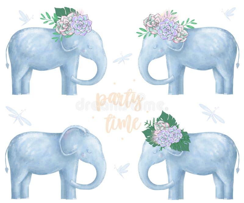 O elefante e as flores na cabeça para o projeto aprontam o animal digital do clipart do cartão do caráter bonito do desenho de Áf ilustração stock
