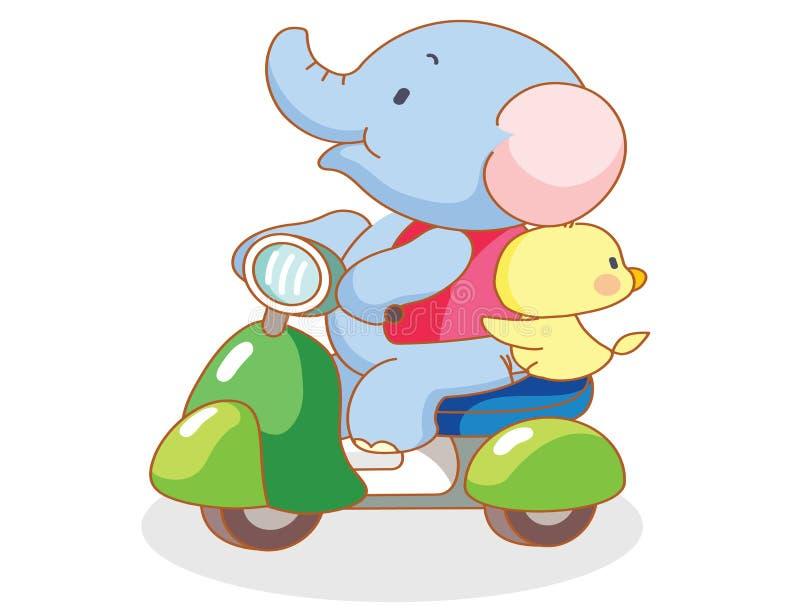 O elefante e os pintainhos dos desenhos animados montavam motocicletas ilustração do vetor