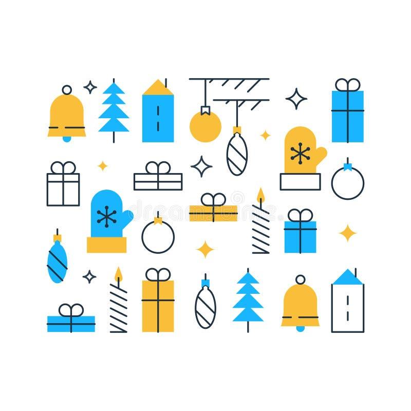 O elemento da decoração do ano novo feliz, feriados de inverno fundo, ornamento do Natal, teste padrão festivo, vector ícones lis ilustração royalty free