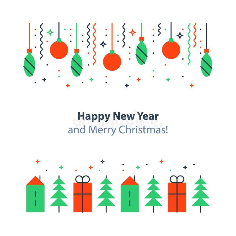 O elemento da decoração do ano novo, feriados de inverno fundo, celebração do Natal, cartão festivo, vector a ilustração lisa ilustração stock