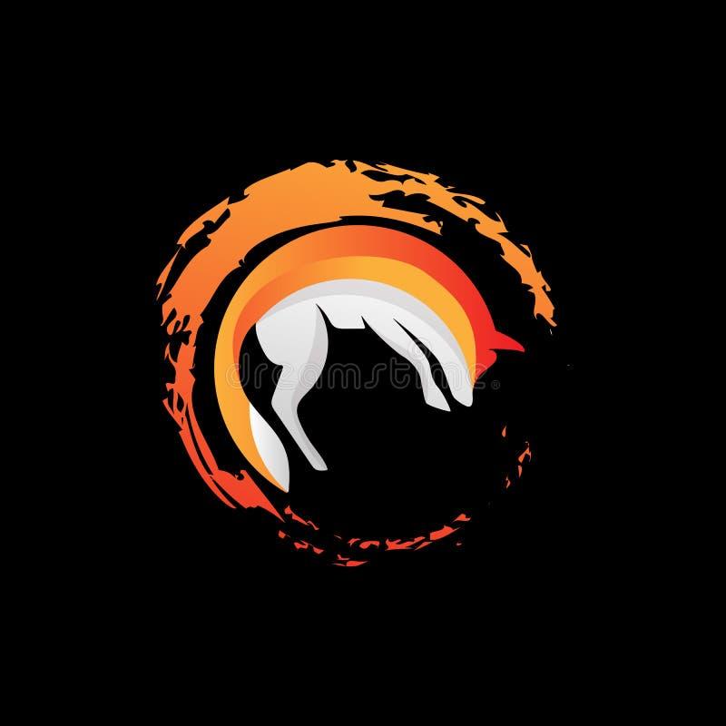 o elemento da ilustração do vetor do ícone do logotipo do lobo da raposa isolou-se ilustração royalty free