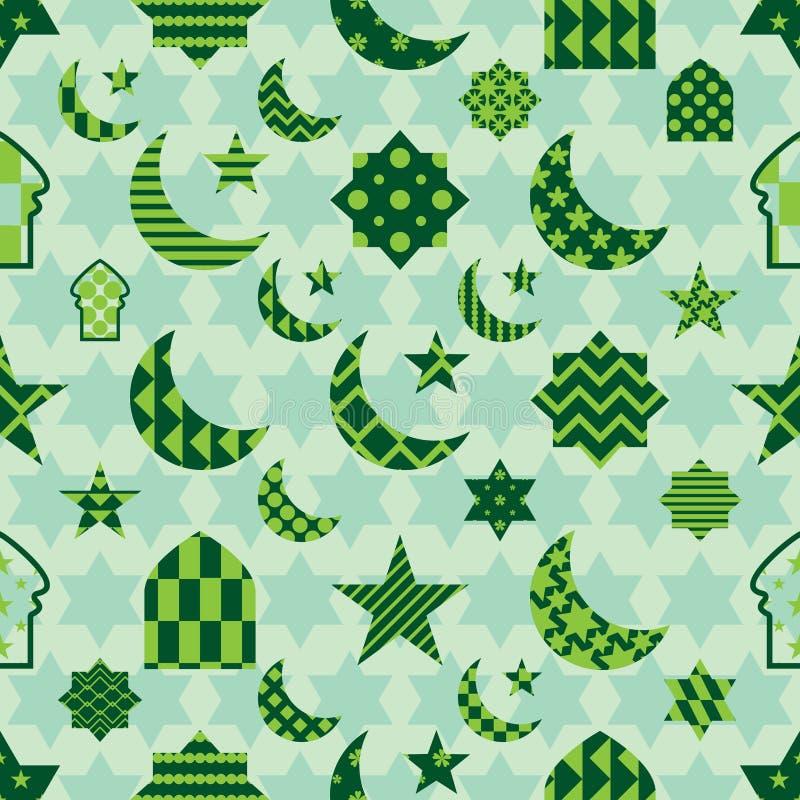 O elemento da ramadã cortou o teste padrão sem emenda da simetria pastel verde ilustração royalty free